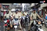 VIDEO: दुर्गा पंडालों में सुरक्षा के लिए SP ने निकाला फ्लैग मार्च, मनचलों की खैर नहीं