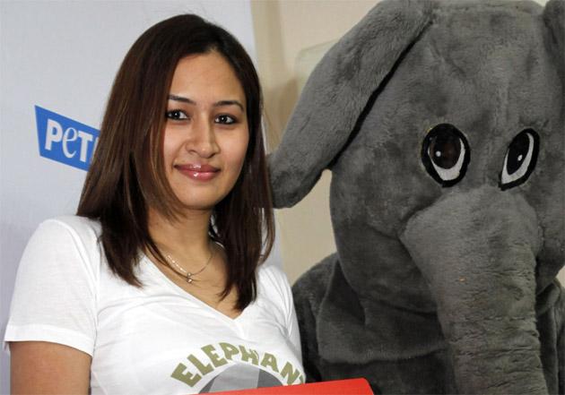 बैडमिंटन खिलाड़ी ज्वाला गुट्टा जानवरों के अधिकारों के लिए लड़ने वाली संस्था पेटा के लिए हैदराबाद में पोज देती हुईं। (फोटो: एपी)
