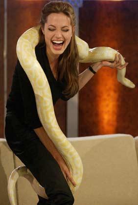 2004 में एक जर्मन टीवी शो को होस्ट करते हुए खुश दिख रही एंजेलिना जोली
