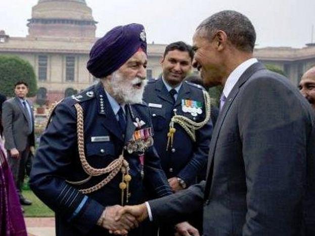 पूर्व अमेरिकी राष्ट्रपति बराक ओबामा के साथ मार्शल अर्जन सिंह