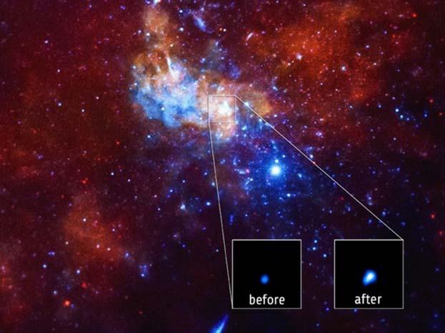 एक रिपोर्ट के मुताबिक सूबसे बड़ा ब्लैक होल मिल्की वे आकाशगंगा के बीचो-बीच बनता है.<strong>(image credit: NASA)</strong>