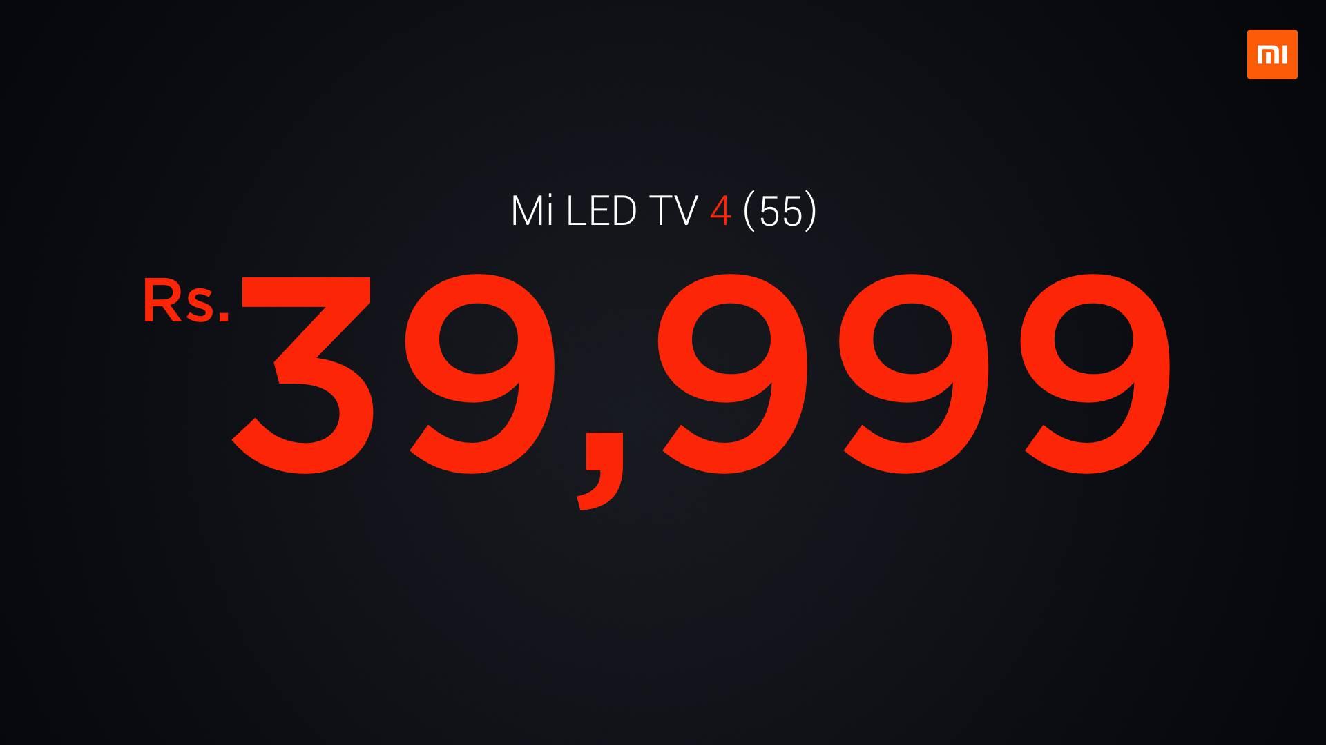 Mi LED TV 4 (55-इंच) की कीमत 39,999 रुपए है.