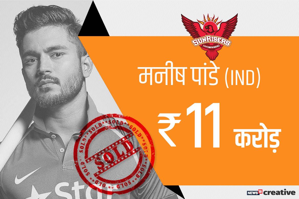 आईपीएल 2018 की नीलामी में सनराइजर्स हैदराबाद नें उन्हें 11 करोड़ रूपए में अपने साथ जोड़ा है. वह संयुक्त रूप से तीसरे सबसे महंगे खिलाड़ी हैं. मनीष ने आईपीएल में 2008 से लेकर अब तक 103 मैच में 120.11 के स्ट्राइक रेट से 2215 रन बनाए हैं जिसमें एक शतक और नौ अर्धशतक शामिल हैं.