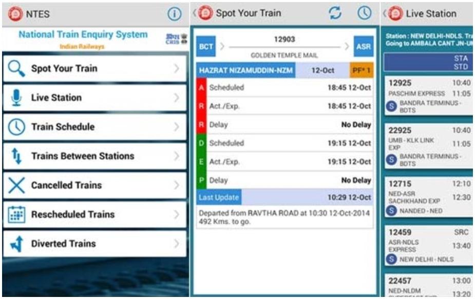 NTES- National Train Enquiry System: NTES का पूरा मतलब है नेशनल ट्रेन पूछताछ प्रणाली और यह भारतीय रेलवे का ऑफिशियल ऐप है ताकि यात्रियों को बेहतर सुविधाएं मुहैया कराई जा सकें. ऐप मुख्यतौर पर ट्रेन रनिंग स्टेटस और रियल टाइम पूछताछ को लेकर तुरंत जानकारी देता है.