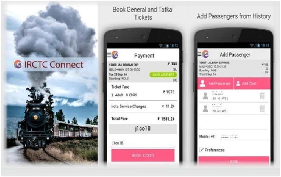 IRCTC Rail Connect: इस ऐप के जरिए यात्री टिकट ऑनलाइन बुक करा सकते हैं. पहले IRCTC की वेबसाइट पर ही बुकिंग होती थी लेकिन अब उन्होंने ऐप लॉन्च कर दिया है और यात्री इस ऐप के जरिए आसानी टिकट बुक कर सकते हैं.