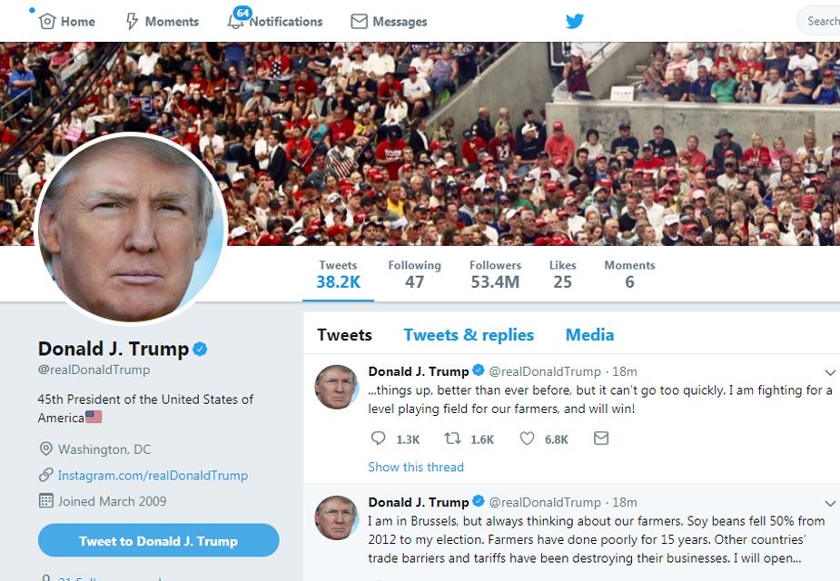ट्विटर पर 5.34 करोड़ फॉलोअर्स के साथ अमेरिकी राष्ट्रपति डोनाल्ड ट्रंप पहले नंबर पर हैं.