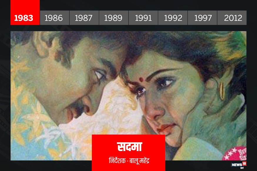 सदमा: साल 1983 में आई सदमा तमिल फिल्म मूंदरम पिरई का रीमेक थी. इस फिल्म में कमल हासन और श्रीदेवी लीड रोल में थे. दोनों ही साउथ फिल्म इंडस्ट्री के चर्चित नाम थे. लेकिन इस फिल्म ने उन्हें हिंदी दर्शकों का भी फेवरेट बना दिया. एक सदमे के बाद दिमागी रूप से कमजोर लड़की के किरदार में श्रीदेवी और उनका खयाल रखते कमल हसन दर्शकों को बेहद पसंद आए. फिल्म की ट्रैजिक लवस्टोरी ने सभी का दिल छुआ और श्रीदेवी की फैन फॉलोइंग बढ़ने लगी. इस फिल्म के गाने 'ए जिंदगी गले लगा ले', 'सुरमई अंखियों में' खासे पॉपुलर हुए.