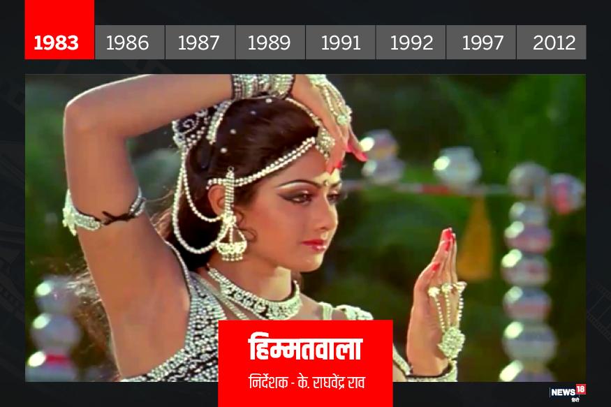 हिम्मतवाला: सदमा की सफलता के बाद इसी साल श्रीदेवी की फिल्म हिम्मतवाला रिलीज हुई. बड़े-बड़े सेट्स, डांसिग नंबर्स और मेकअप और चमकीले कॉस्ट्यूम वाली ये फिल्म बॉक्स ऑफिस पर खूब चली. इस फिल्म ने श्रीदेवी को बॉलिवुड के बेस्ट डांसिग एक्टर्स में शुमार किया. इस फिल्म के गाने 'नैनों में सपना' और 'ताकी रे ताकी' आज भी लोगों की जुबान पर रहते हैं. यूं भी कहा जा सकता है कि ये गाने भी श्रीदेवी की पहचान में शामिल हैं. इसके साथ ही श्रीदेवी और जीतेंद्र की जोड़ी भी सक्सेस की गारंटी मानी जाने लगी.