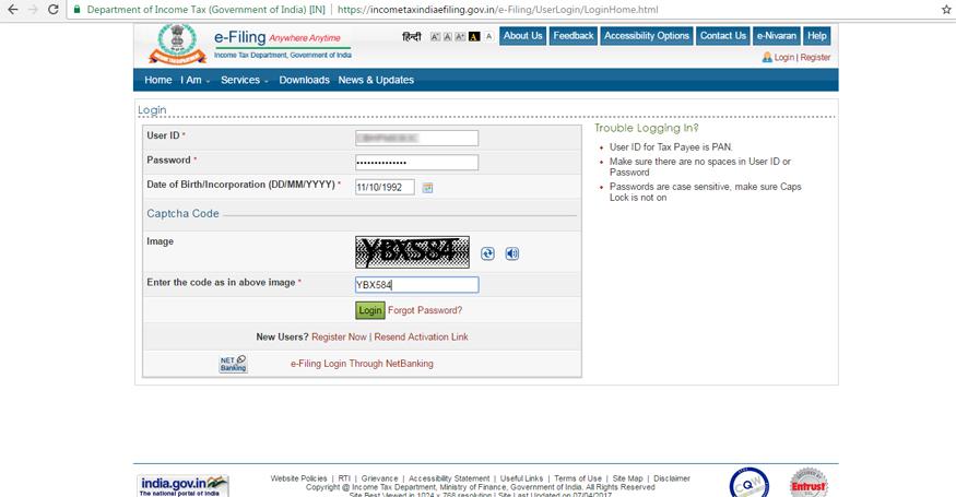 इनकम टैक्स ई-फाइलिंग वेबसाइट पर लॉगइन करें. अगर आपका अकाउंट नहीं बना है तो रजिस्ट्रेशन कीजिए.