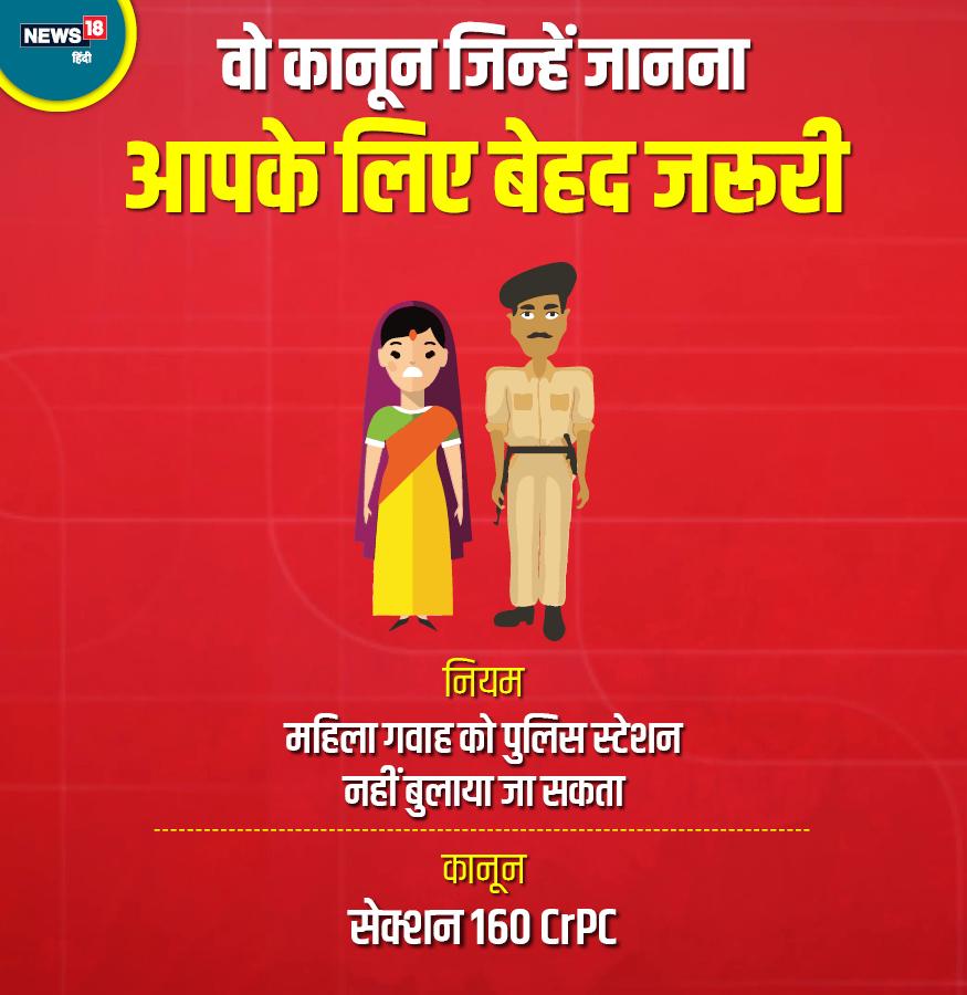 अगर कोई महिला किसी केस में गवाह है तो पुलिस उसे गवाही के लिए पुलिस स्टेशन नहीं बुला सकती. सेक्शन 160 CrPc के तहत बयान लेने के लिए पुलिस अधिकारी को उसके पास जाना होगा ताकि उसकी सुरक्षा हो सके.