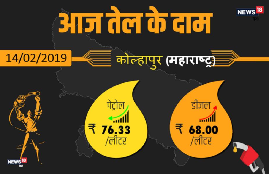कोल्हापुर में पेट्रोल 76.33 रुपये प्रति लीटर और डीजल 68.00 रुपये प्रति लीटर है.