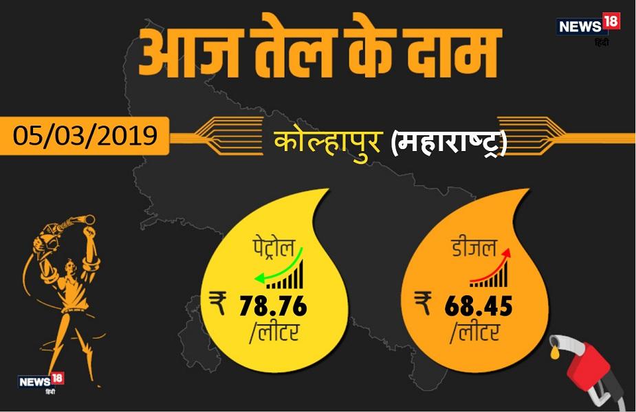 कोल्हापुर में आज पेट्रोल 78.76 रुपए प्रति लीटर और डीजल 68.45 रुपए प्रति लीटर मिल रहा है.