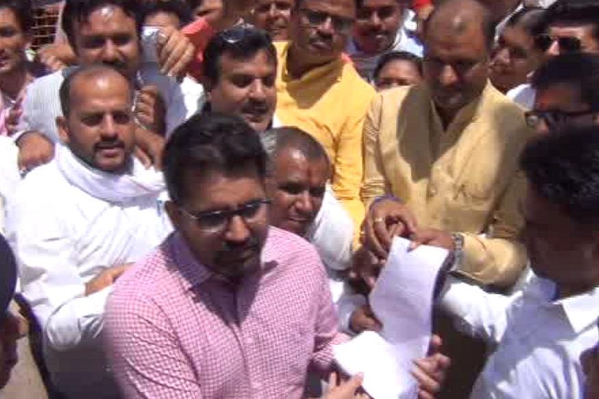 बीजेपी के नेताओं ने चित्तौड़गढ़ कलेक्ट्रेट पर किया विरोध प्रदर्शन