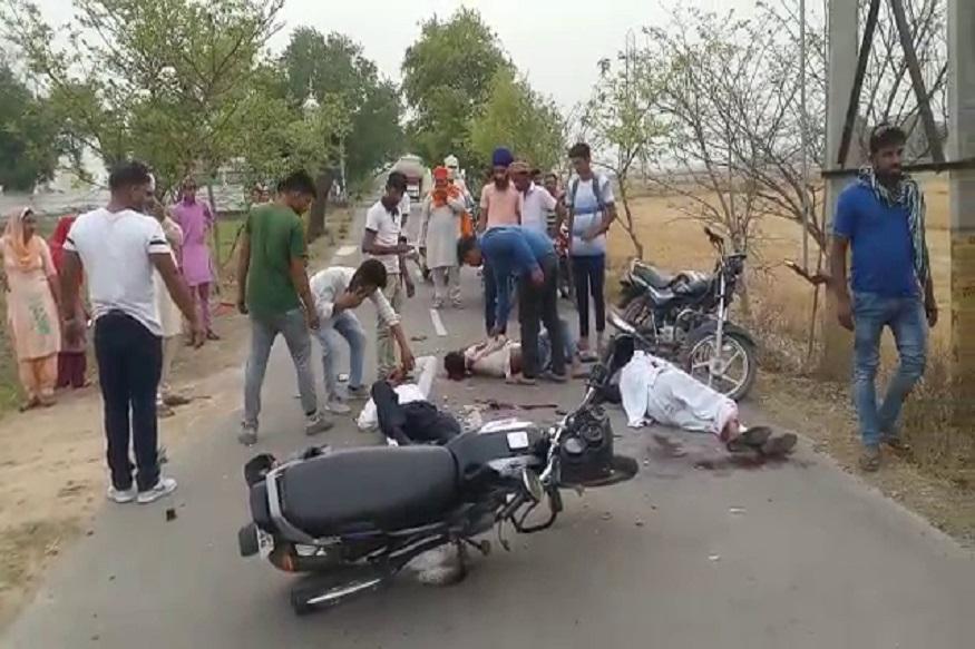 फतेहाबाद में माजरा रोड पर 2 बाइक की आमने सामने जबरदस्त भिड़ंत हो गई. हादसे में बाइक सवारों 2 लोगों की मौत हो गई जबकि 3 लोग घायल हो गए. यह भयंकर हादसा एक बाइक का टायर फटने की वजह से हुआ. टायर फटने के बाद बाइक सामने से आ रहे दूसरे बाइक से जा टकराया और दोनों बाइकों पर सवार 5 लोग सड़क पर बुरी तरह से जख्मी होकर गिर पड़े.