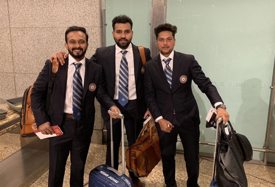 केदार जाधव, रोहित शर्मा और कुलदीप यादव. जाधव और यादव पहली बार वर्ल्ड कप खेलेंगे.