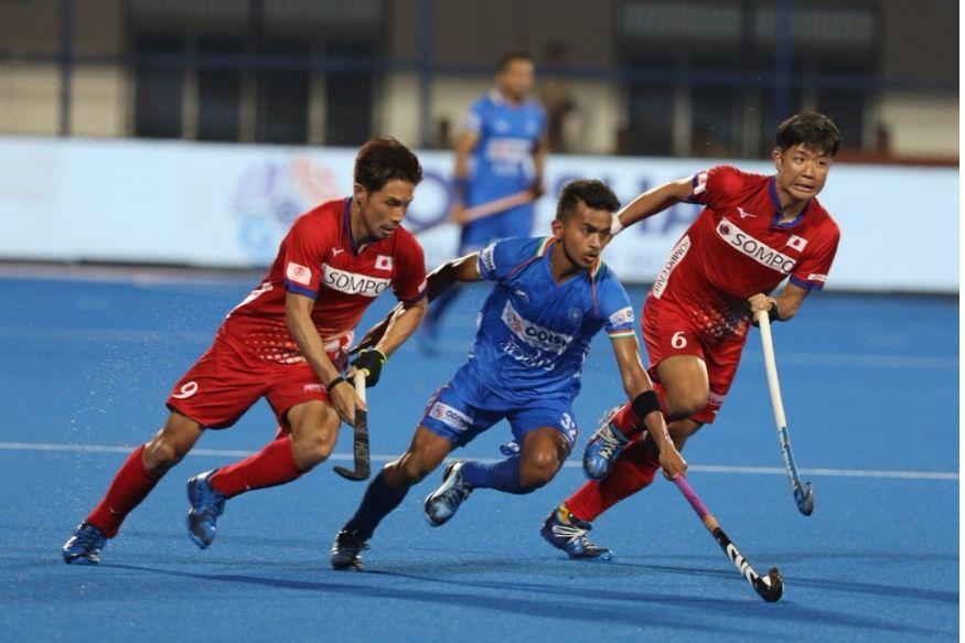 भारतीय खिलाड़ियों ने जापान के खिलाफ सात गोल दागे (hockey india)