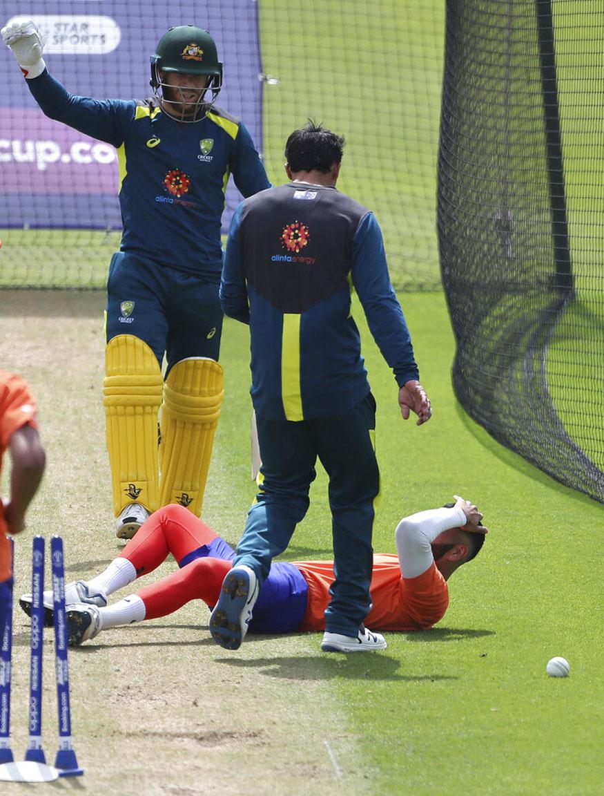 david warner, icc cricket world cup 2019, warner shot hit bowler, net bowler jai kishan, australia cricket team, डेविड वॉर्नर, आईसीसी क्रिकेट वर्ल्ड कप, गेंदबाज चोटिल