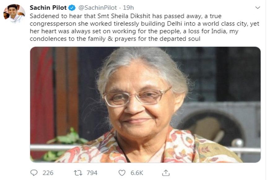 पूर्व सीएम शीला दीक्षित का निधन।