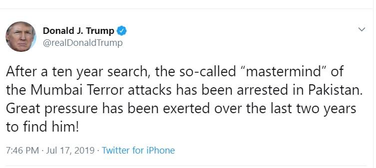 26/11 mumbai attack, Donald Trump, Hafiz Saeed, pakistan