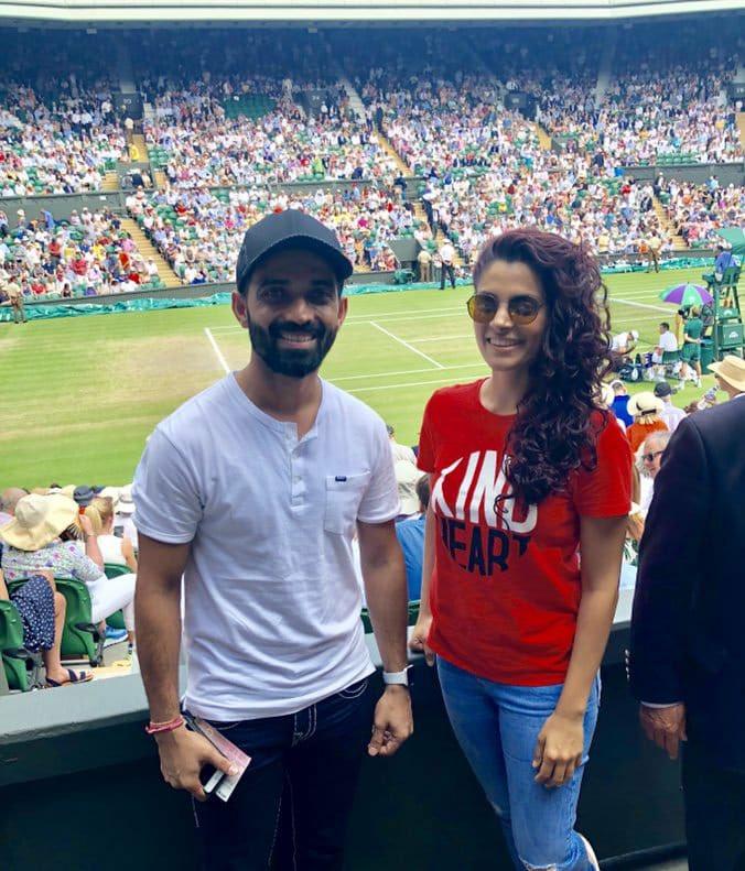 फेडरर और नडाल के बीच सेमीफाइनल मुकाबला 12 जुलाई को खेला गया था और उस दिन विश्व कप में कोई मैच नहीं था, क्योंकि 11 जुलाई तक विश्व कप सेमीफाइनल के पडाव तक पहुंच गया था और रहाणे अक्सर विंबलडन के मैच देखने जा रहे थे.