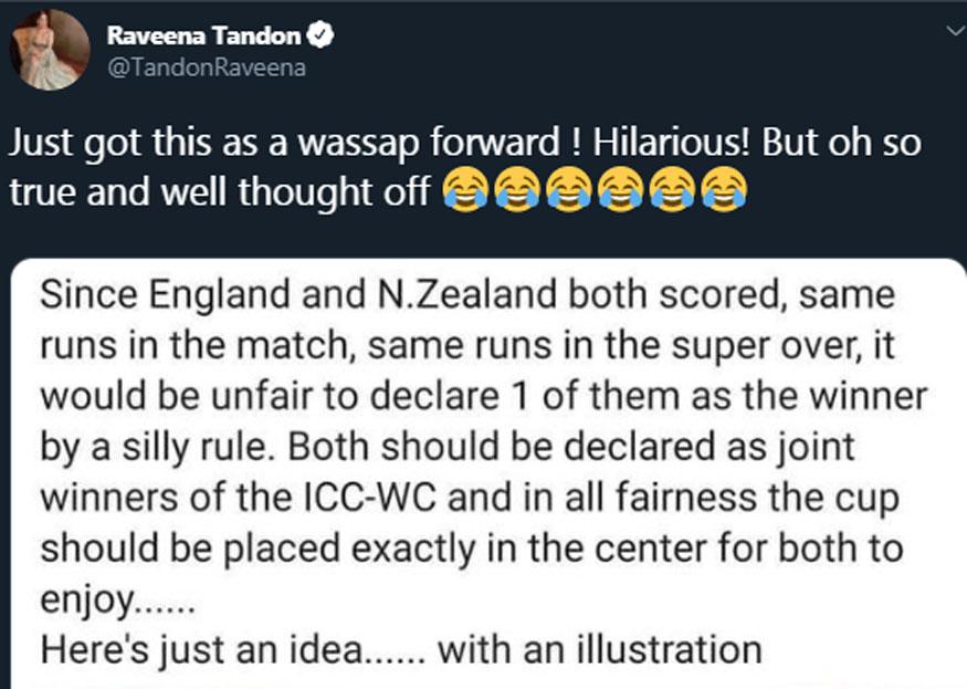 cricket world cup 2019, world cup 2019 trophy, england world cup, new zealand, raveena tandon tweet, वर्ल्ड कप ट्रॉफी, रवीना टंडन, इंग्लैंड क्रिकेट, न्यूजीलैंड