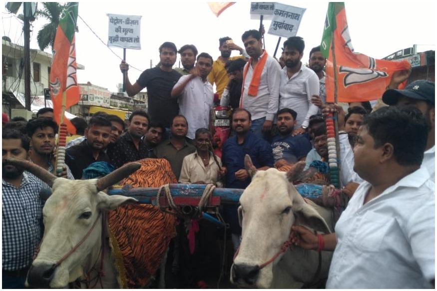 BJYM members protest against Petrol-Diesel price hike in Madhya Pradesh