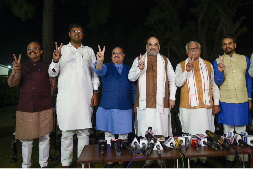 Home Minister Amit Shah with BJP Working President JP Nadda, Haryana Chief Minister ML Khattar and JJP leader Dushyant Chautala in New Delhi on Friday.