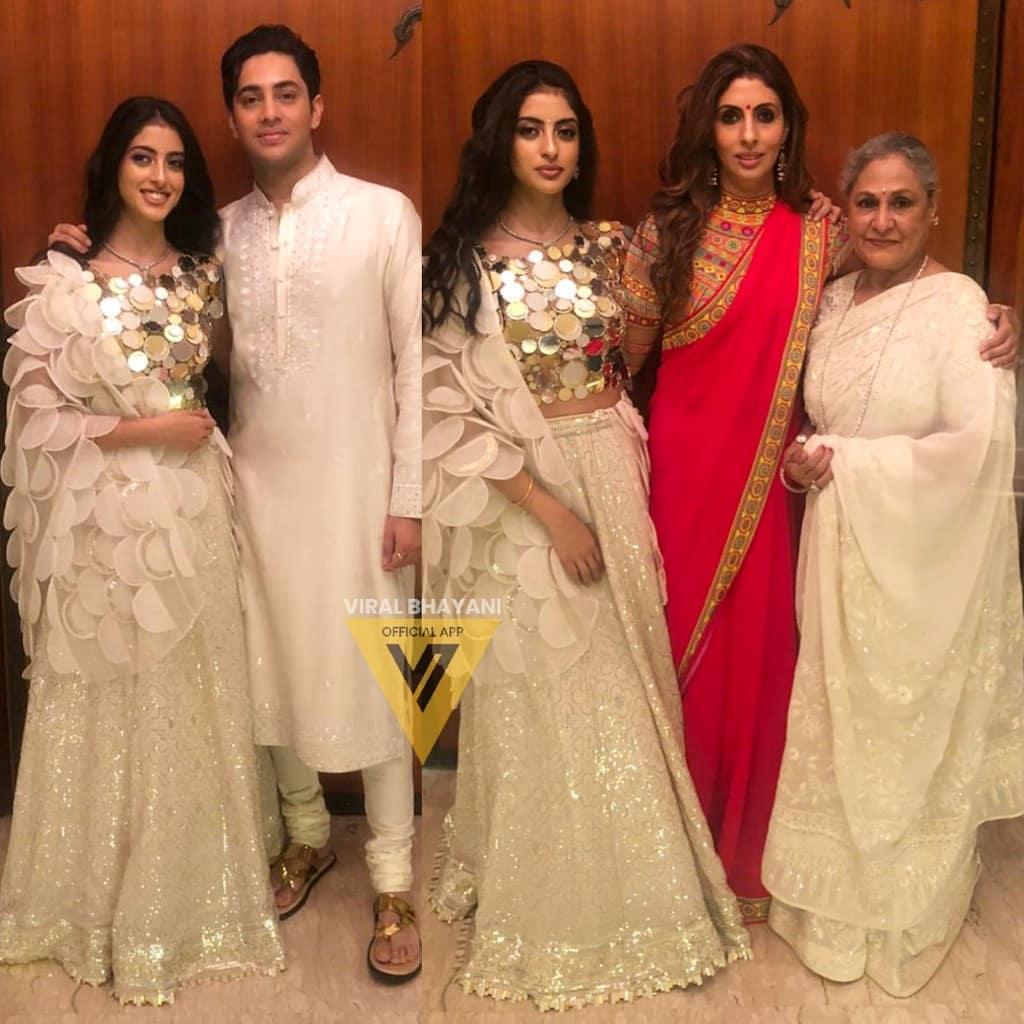 जया बच्चन अपनी बेटी और पोते-पोती के साथ कुछ इस अंदाज में नजर आईं. इस दौरान उन्होंने ऑफ व्हाइट रंग की खूबसूरत साड़ी पहनी थी.