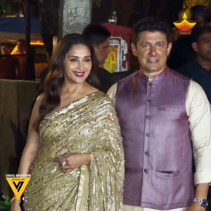 पति श्रीराम नेने के साथ अमिताभ बच्चन की दिवाली पार्टी में माधुरी दीक्षित का दिलकश अंदाज
