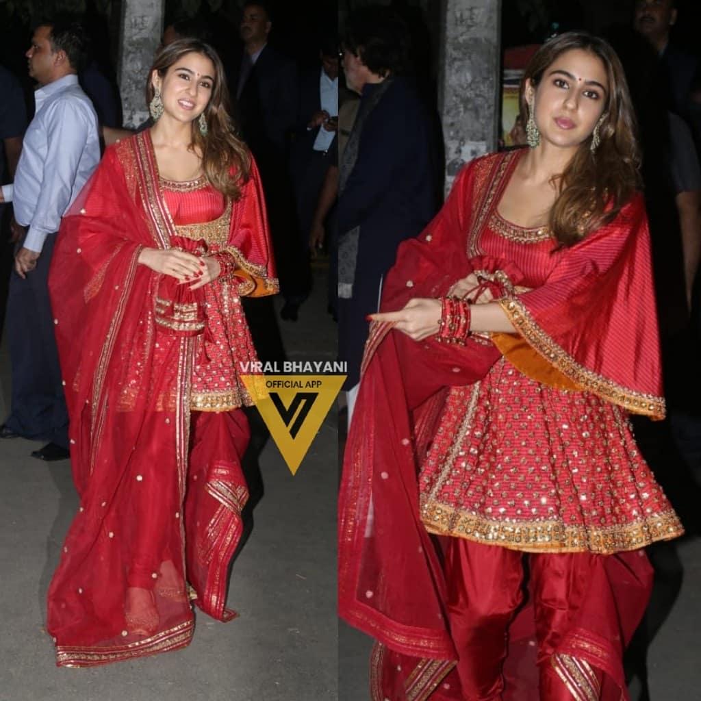 सारा अली खान ने अमिताभ बच्चन की पार्टी में लाल सूट पहनकर कहर ढाया