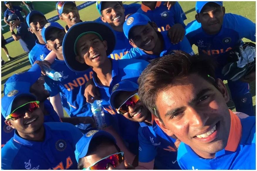 india beat australia, ICC under 19 cricket world cup, quarter final match, india in semifinal, kartik tyagi, akash singh, yashaswi jaiswal, atharva ankolekar, कार्तिक त्यागी, आकाश सिंह, यशस्वी जायसवाल, अथर्व अंकोलेकर, क्रिकेट, इंडिया अंडर 19 टीम, अंडर 19 क्रिकेट वर्ल्ड कप, ऑस्ट्रेलिया अंडर 19