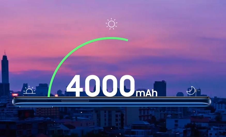 Samsung A20s में 4000mAh की बैटरी.