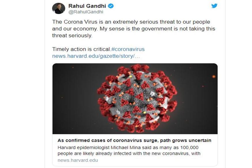 Congress, Rahul Gandhi, social media, tweet, Kashmir, Jammu and Kashmir, corona virus