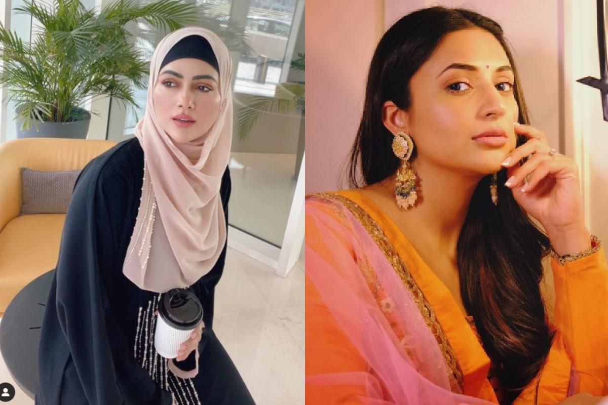 दिव्यांका त्रिपाठी के दुपट्टे के बाद अब सना खान के हिजाब पर उठे सवाल,  एक्ट्रेस ने दिया करारा जवाब   Sana Khan gives reply to a user who mocked  her for wearing