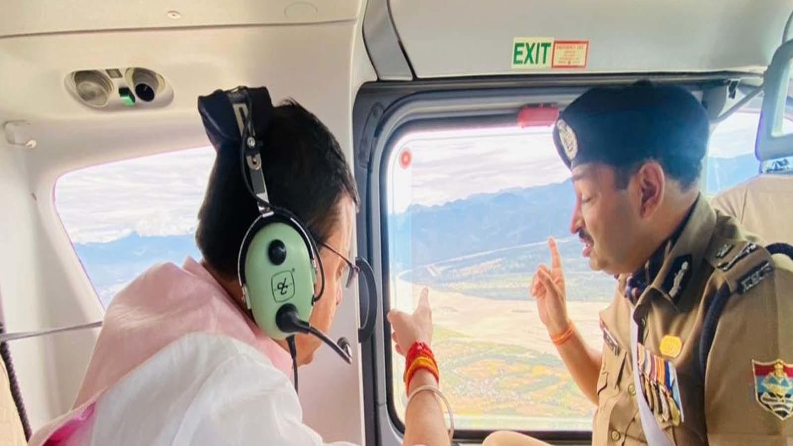 CM धामी ने किया हवाई सर्वेक्षण