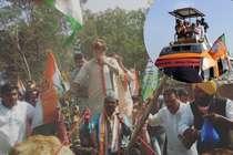हेलीकॉप्टर छोड़ रथ से प्रचार कर रहे हैं शिवराज, सिंधिया ने की बैलगाड़ी की सवारी