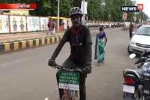 पर्यावरण संरक्षण का संदेश देने साइकिल पर निकला युवक पहुंचा उमरिया