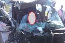 बस और कार की टक्कर में महिला की मौत, छह घायल