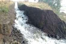 करोड़ों की लागत से बनी नहर का बड़ा हिस्सा टूटा, कई एकड़ फसलें डूबीं