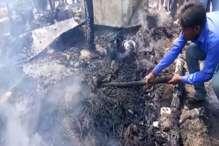 VIDEO: आग में मजदूरों की झोपड़ियां जलकर खाक, एक नवजात की मौत