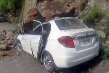 हिमाचल की राजधानी शिमला में लैंडस्लाइड, कार पर गिरा पत्थर