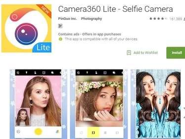 Camera360 Lite- यह लाइट ऐप आपके मोबाइल में 4 MB से कम का स्पेस लेता है और यह आपके फोटो सेशन के लिए कुछ ही सेकेंड में रेडी हो सकता है.