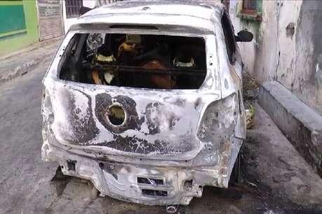 सिरसा में घर के बाहर खड़ी कार में अचानक लगी आग
