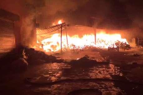 गोहाना: धागा फैक्ट्री में लगी भीषण आग, मशीने जलकर राख