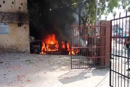 औरंगाबाद में युवक की मौत पर भड़के ग्रामीण, थाना परिसर में रखे वाहनों को फूंका