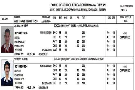 HBSE 12th Class Result 2018: हिसार की हीना और नवीन ने किया टॉप