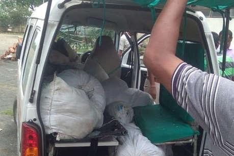 एंबुलेंस से भारी मात्रा में शराब के पाउच बरामद, एक कारोबारी गिरफ्तार