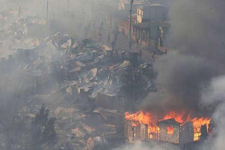 चिली की झुग्गी बस्ती में लगी आग, 100 से ज्यादा घर हुए राख