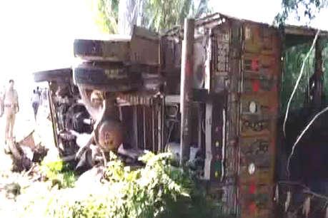 महराजगंज में बस बेकाबू होकर पलटी, 14 यात्री जख्मी