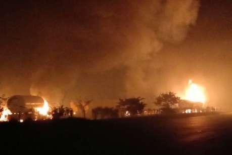 मथुरा: यमुना एक्सप्रेसवे पर गैस टैंकरों में लगी भीषण आग, 5 गाड़ियां जलकर खाक